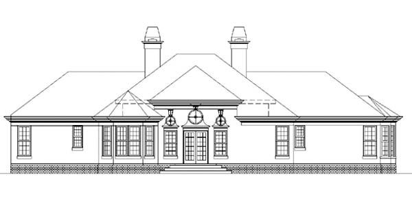 Colonial European House Plan 98246 Rear Elevation