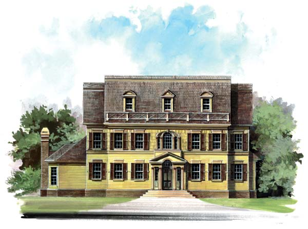 Colonial, Greek Revival House Plan 98247 with 5 Beds, 4 Baths, 3 Car Garage Front Elevation