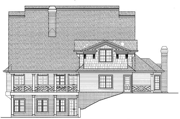 Colonial, Greek Revival House Plan 98247 with 5 Beds, 4 Baths, 3 Car Garage Rear Elevation