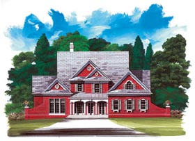 Colonial House Plan 98248 with 4 Beds, 4 Baths, 2 Car Garage Elevation