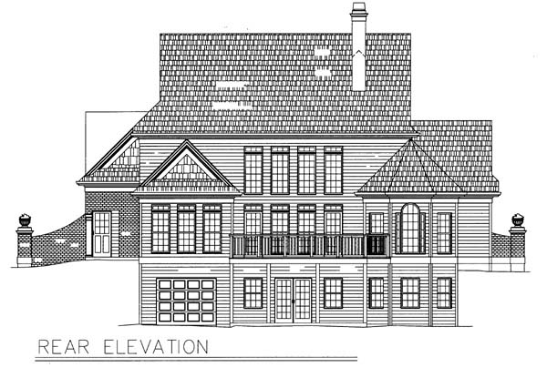 Colonial Rear Elevation of Plan 98248