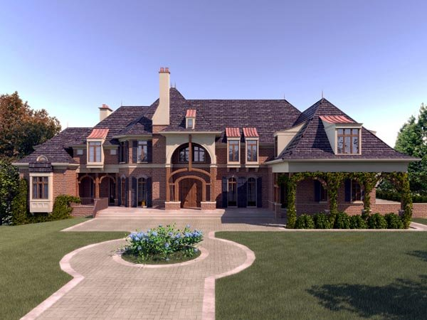 European, Greek Revival House Plan 98253 with 5 Beds, 6 Baths, 3 Car Garage Elevation