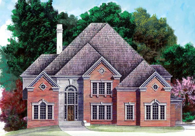 European, Greek Revival House Plan 98259 with 5 Beds, 6 Baths, 3 Car Garage Elevation