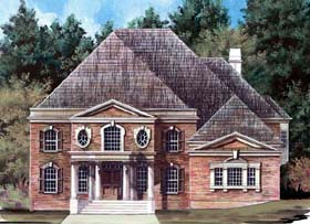 Colonial , Greek Revival House Plan 98263 with 6 Beds, 3 Baths, 3 Car Garage Elevation