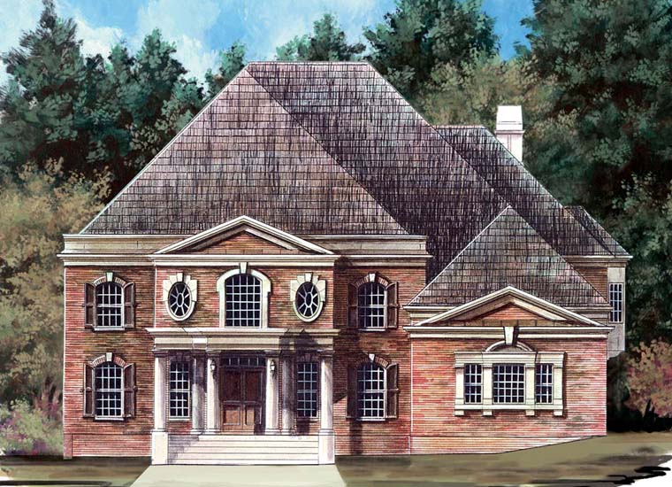 Colonial, Greek Revival House Plan 98263 with 6 Beds, 3 Baths, 3 Car Garage Elevation