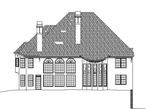 Colonial, Greek Revival House Plan 98263 with 6 Beds, 3 Baths, 3 Car Garage Rear Elevation