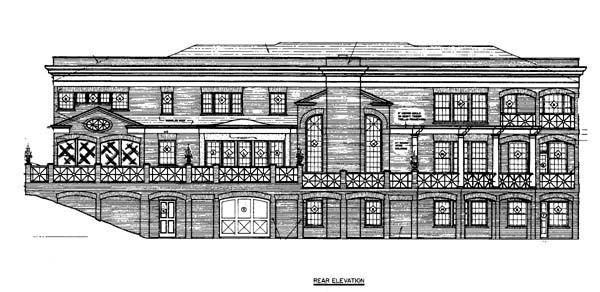 House Plan 98265 | Colonial Greek Revival Style Plan with 5120 Sq Ft, 5 Bedrooms, 4 Bathrooms, 3 Car Garage Rear Elevation