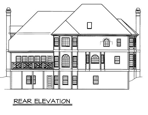 European, Greek Revival House Plan 98266 with 4 Beds, 4 Baths, 2 Car Garage Rear Elevation