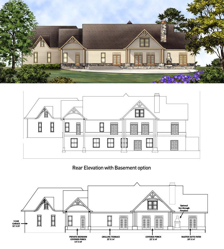 Country Craftsman Traditional Tudor House Plan 98267 Rear Elevation
