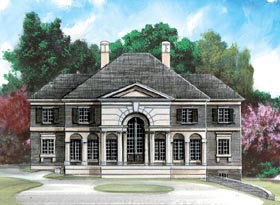 Greek Revival , Colonial House Plan 98270 with 4 Beds, 4 Baths, 2 Car Garage Elevation