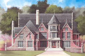 Greek Revival, Tudor, Victorian House Plan 98278 with 5 Beds, 4 Baths, 3 Car Garage Elevation
