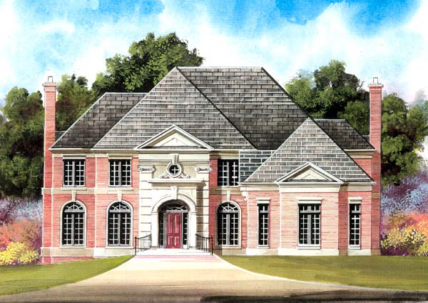 Colonial , European , Greek Revival House Plan 98279 with 4 Beds, 4 Baths, 2 Car Garage Elevation