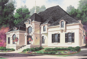 European, Greek Revival House Plan 98280 with 4 Beds, 4 Baths, 3 Car Garage Elevation