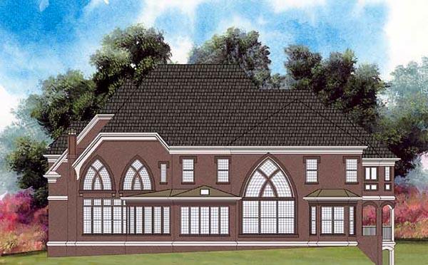 European Greek Revival Tudor Victorian House Plan 98281 Rear Elevation