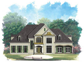Colonial European Greek Revival House Plan 98291 Elevation