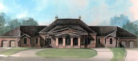 Colonial , Greek Revival House Plan 98298 with 4 Beds, 5 Baths, 4 Car Garage Elevation