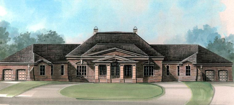 Colonial, Greek Revival House Plan 98298 with 4 Beds, 5 Baths, 4 Car Garage Elevation