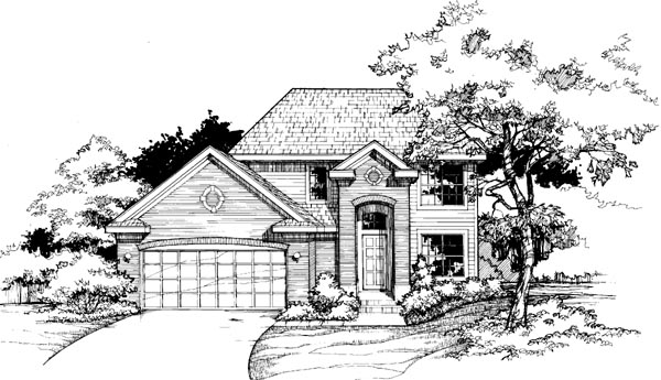 Colonial, European House Plan 98315 with 3 Beds, 3 Baths, 2 Car Garage Elevation