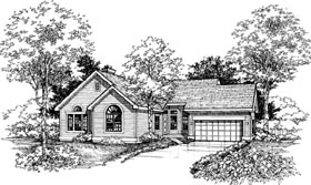 House Plan 98319 | Ranch Style Plan with 1530 Sq Ft, 2 Bedrooms, 2 Bathrooms, 2 Car Garage Elevation