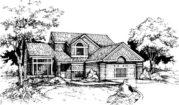 Traditional House Plan 98331 with 4 Beds, 3 Baths, 2 Car Garage Elevation