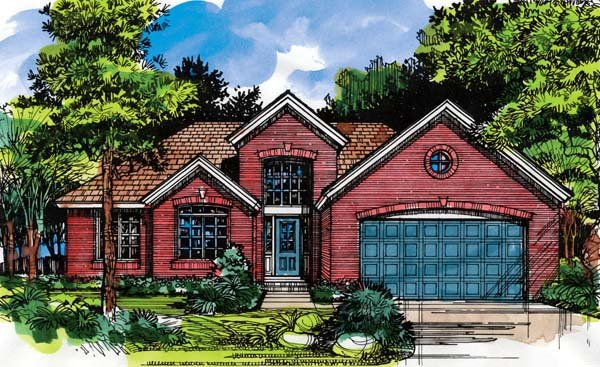 House Plan 98337 | Traditional Style Plan with 1633 Sq Ft, 3 Bedrooms, 2 Bathrooms, 2 Car Garage Elevation