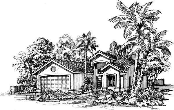 Mediterranean, One-Story House Plan 98339 with 2 Beds, 2 Baths, 2 Car Garage Elevation
