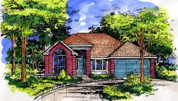 One-Story, Traditional House Plan 98354 with 2 Beds, 2 Baths, 2 Car Garage Elevation