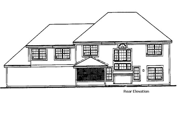 Colonial House Plan 98362 with 4 Beds, 3 Baths, 3 Car Garage Rear Elevation