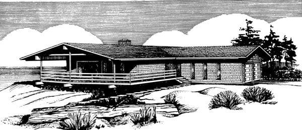 Prairie Style Ranch Retro Southwest House Plan 98379 Elevation