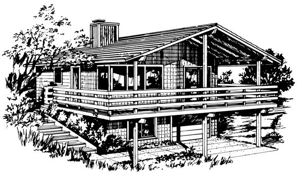 House Plan 98387 | Contemporary Style Plan with 1628 Sq Ft, 3 Bedrooms, 1 Bathrooms, 1 Car Garage Elevation
