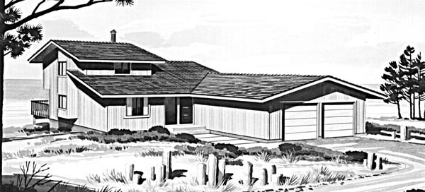 Contemporary, Ranch House Plan 98390 with 3 Beds, 2 Baths, 2 Car Garage Elevation