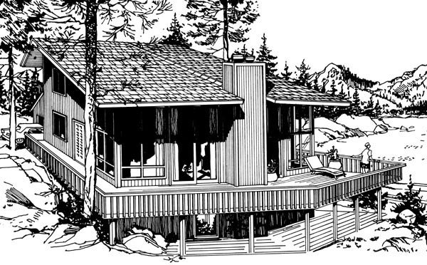 Cabin Contemporary House Plan 98394 Rear Elevation