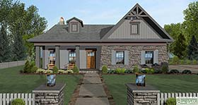 House Plan 98400 | Cottage, Craftsman, Ranch Style House Plan with 1499 Sq Ft, 4 Bed, 2 Bath, 2 Car Garage Elevation