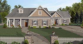 Cottage , Country , Craftsman House Plan 98401 with 4 Beds, 2 Baths, 2 Car Garage Elevation