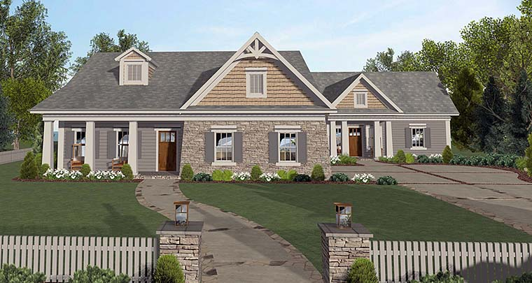 Cottage Country Craftsman House Plan 98401 Elevation