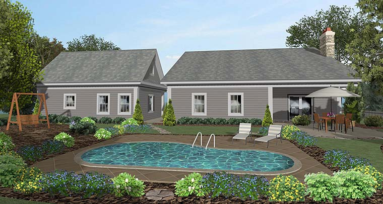 Cottage, Country, Craftsman House Plan 98401 with 4 Beds, 2 Baths, 2 Car Garage Rear Elevation