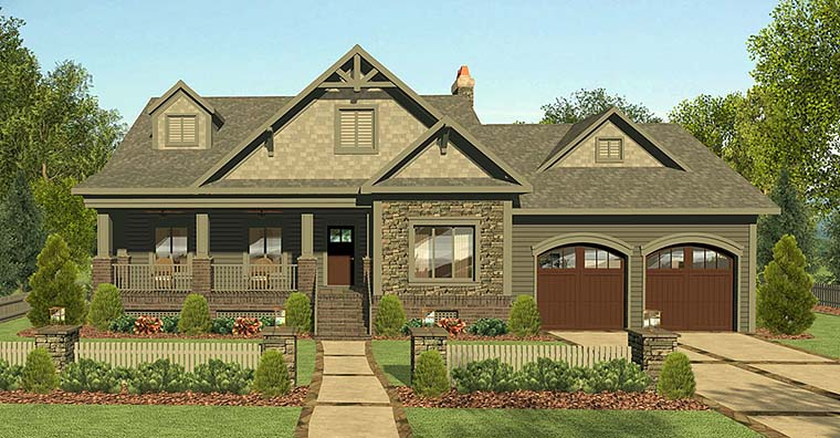 Country Craftsman Elevation of Plan 98402