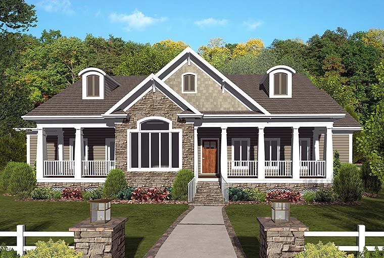 Country Craftsman Southern House Plan 98404 Elevation