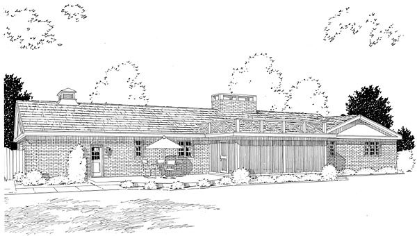 Colonial Ranch Retro Traditional House Plan 9850 Rear Elevation