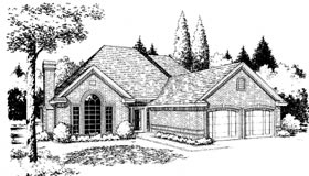 European House Plan 98507 with 4 Beds, 3 Baths Elevation
