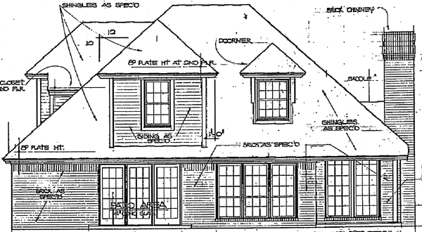 European House Plan 98507 with 4 Beds, 3 Baths Rear Elevation