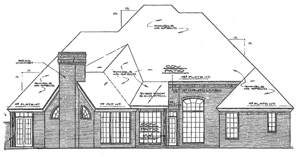 European House Plan 98511 Rear Elevation
