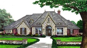 House Plan 98518 | Country European Style Plan with 2733 Sq Ft, 3 Bedrooms, 4 Bathrooms, 3 Car Garage Elevation