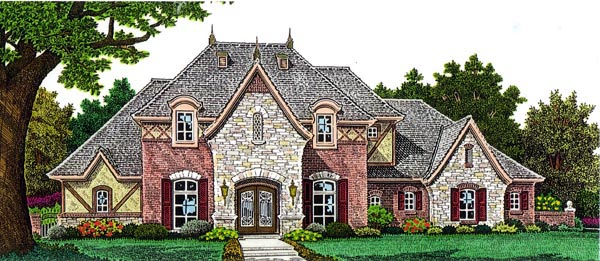 Country, European House Plan 98522 with 4 Beds, 5 Baths, 3 Car Garage Elevation