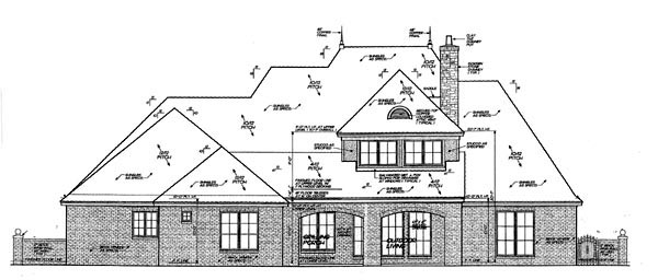 Country, European House Plan 98522 with 4 Beds, 5 Baths, 3 Car Garage Rear Elevation