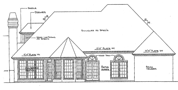 European House Plan 98523 Rear Elevation