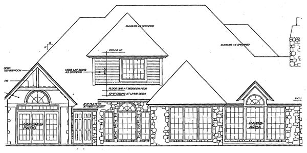 European House Plan 98524 with 4 Beds, 4 Baths Rear Elevation