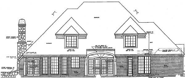 European French Country Tudor Rear Elevation of Plan 98527