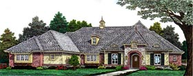 House Plan 98529 | Country European Style Plan with 2736 Sq Ft, 3 Bedrooms, 4 Bathrooms, 3 Car Garage Elevation