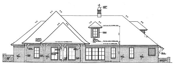 House Plan 98529 | Country European Style Plan with 2736 Sq Ft, 3 Bedrooms, 4 Bathrooms, 3 Car Garage Rear Elevation